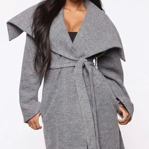 FashionNova - Walking in the Snow Wool Trench Coat